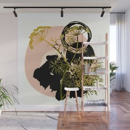 Umbellifer and abstract background Wall Mural