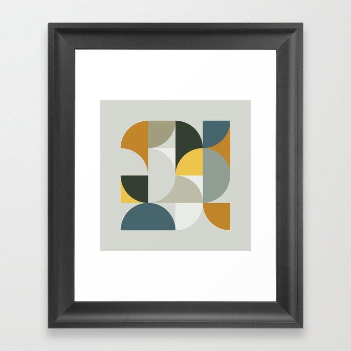 Mid Century Geometric 13 Gerahmter Kunstdruck