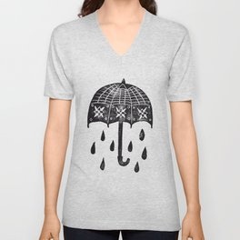 Black Umbrella Unisex V-Neck