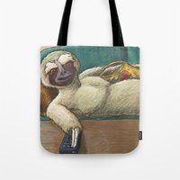 sloth Tote Bags featuring Sloth by Ken Coleman