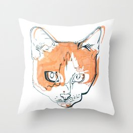 Kitten with a Soul Patch Throw Pillow