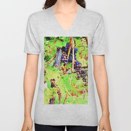 Hortus Conclusus: bunches of black grapes Unisex V-Neck