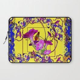Decorative Blue Yellow Pink Purple Vining Flowers Art Laptop Sleeve