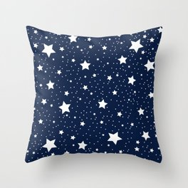 Superstar Starry Night Pattern in White and Nautical Navy Blue Throw Pillow