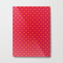 Amber Orange on Crimson Red Snowflakes Metal Print