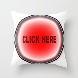Click Here Button Throw Pillow