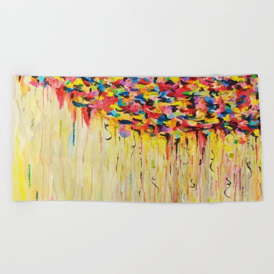 OPPOSITES LOVE Raining Sunshine - Bold Bright Sunny Colorful Rain Storm Abstract Acrylic Painting Beach Towel