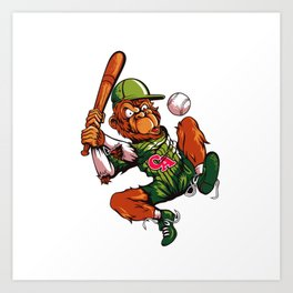 Baseball Monkey - Limerick Art Print