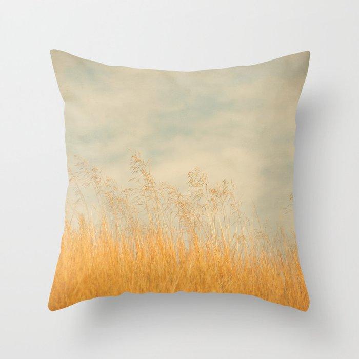 Amber Wave -- Tall Golden Grass in a Blue Ridge Highlands Pasture Throw Pillow