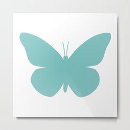 Aqua Butterfly Pattern and Print Metal Print