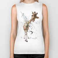 giraffe Biker Tanks featuring Giraffe by TAOJB