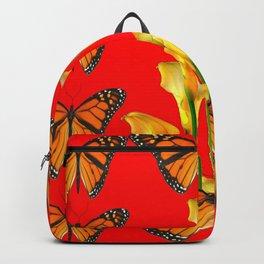 MONARCH BUTTERFLIES & GOLDEN CALLA LILIES RED ART Backpack