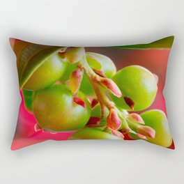 Green Berries Red Background #society6 #decor #buyart Rectangular Pillow