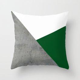 Concrete Festive Green White Throw Pillow