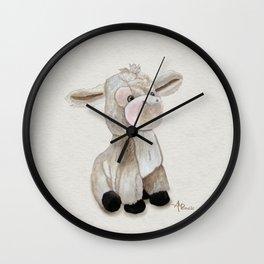 Cuddly Donkey Watercolor Wall Clock