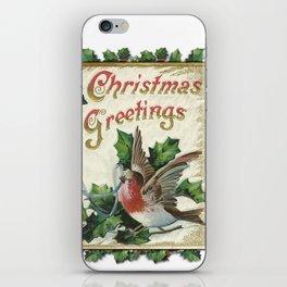 Christmas Snowbird and Golden Bells iPhone Skin