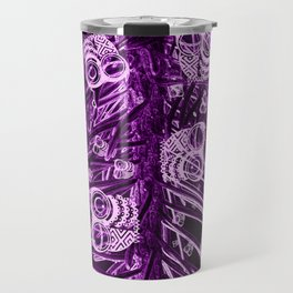 Mosaic of Owls V2 Purple Travel Mug