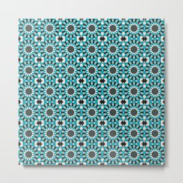 Blue Grey and White Floral Tile Pattern Metal Print