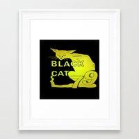 duvet cover Framed Art Prints featuring BLACK CAT DUVET COVER by aztosaha