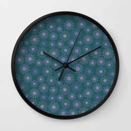 Geometrical rotated flowers in Lila, pink and green Wall Clock