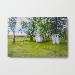 Outhouses and Swingset at the Church, North Dakota 1 Metal Print