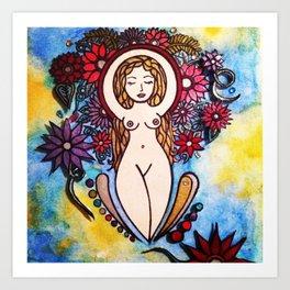 3d nude spiral goddess Art Print