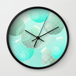 Silver and Mint Blue Christmas Ornaments Wall Clock