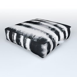 Tie-Dye Shibori Stripe BW Outdoor Floor Cushion