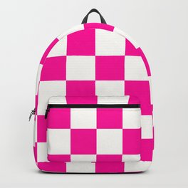 Pink and White Checkers Checkerboard Plaid Backpack