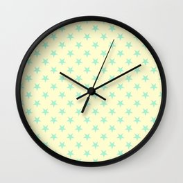 Magic Mint Green on Cream Yellow Stars Wall Clock