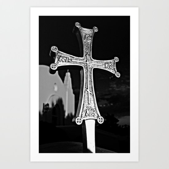 Cross Outside of St. Barbara Greek Orthodox Church, Santa Barbara, CA Art Print