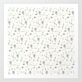 Seamless pattern with native American symbols Art Print