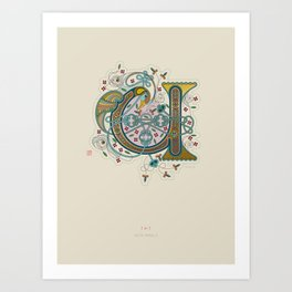 Celtic Initial U Art Print