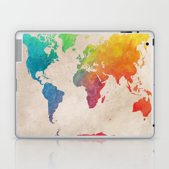 world map laptop skin