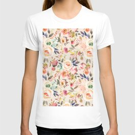 Hand painted ivory pink brown watercolor country floral T-shirt