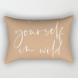 Lose yourself in wild Romance | Typography art | Beautiful quote wall art minimalistic Coral Orange Rectangular Pillow
