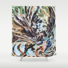 Bathing Grackle Shower Curtain