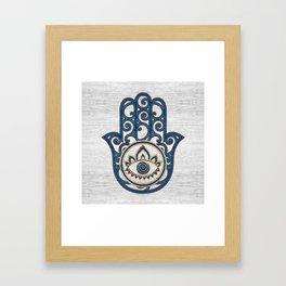 Hamsa Hand Hand of Fatima blue wood Framed Art Print