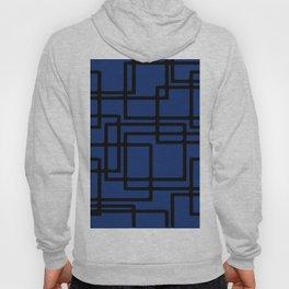 Retro Modern Black Rectangles On Deep Blue Hoody