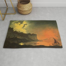 Joseph Wright of Derby - Vesuvius from Posillipo by Moonlight Rug