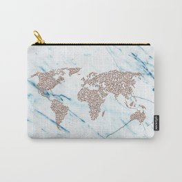 Rosegold Stars on Blue Marble World Map Carry-All Pouch