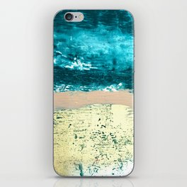 Darling: a bold, abstract, mixed-media piece in gold, teal, and pink iPhone Skin