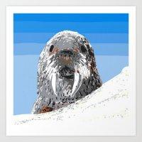 walrus Art Prints featuring Walrus by wingnang