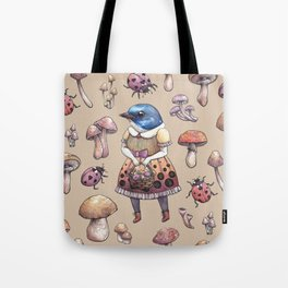 Mushroom Pickers - Lady Blue Tote Bag