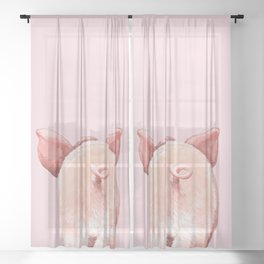 Pig Cutie Butt in Pink Sheer Curtain