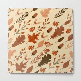 Autumn Leaves and Ladybugs Pattern Metal Print