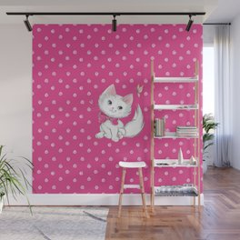 Cute White Kitten with Butterfly on Pink Background Wall Mural