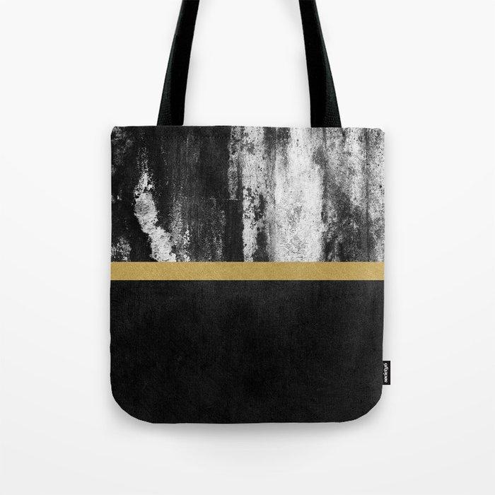 Golden Line / Black Tote Bag