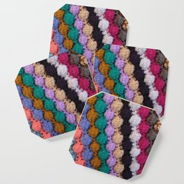 Colourful knitted stripes craft background Coaster