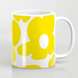 Large Yellow Retro Flowers on White Background #decor #society6 #buyart Coffee Mug